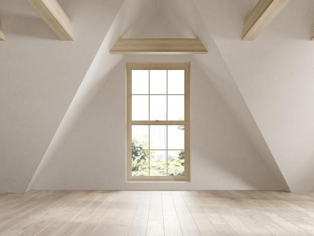 Leerer dachboden innenraum 3 d abbildung