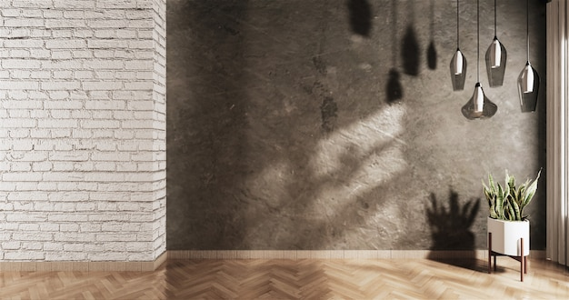 Leerer dachboden mit weißer backsteinmauer und einer anlage