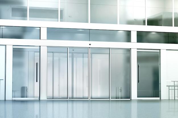 Leerer eingang des geschäftsgebäudes aus glas