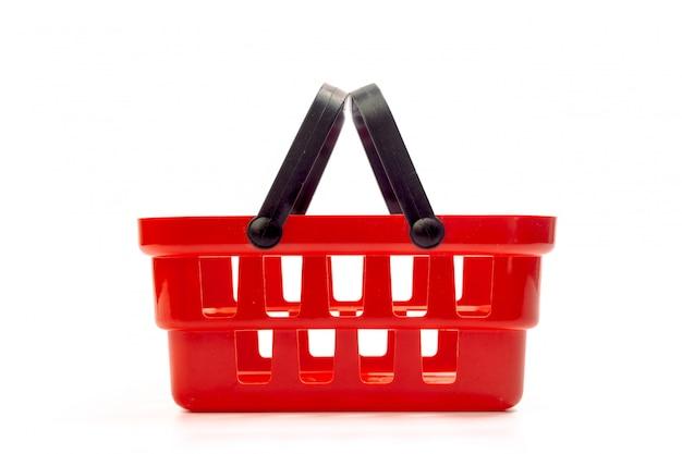 Leerer einkaufskorb getrennt auf weiß