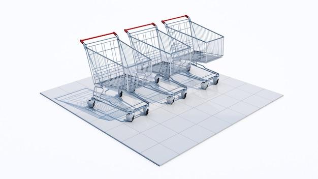 Leerer einkaufswagen 3d-rendering
