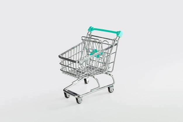 Leerer einkaufswagen lokalisiert auf weißer oberfläche