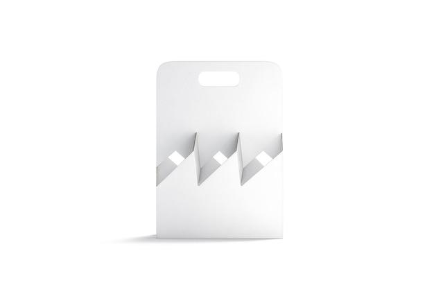 Leerer flaschenhalter aus weißem karton, vorderansicht, 3d-rendering.