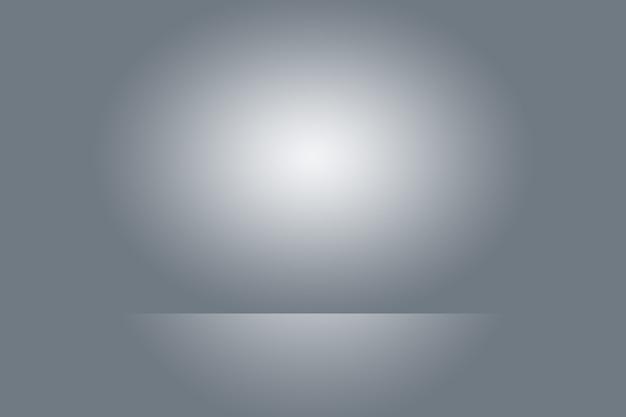 Leerer fotograf studio hintergrund zusammenfassung, hintergrundtextur der schönheit dunkel und hell klar blau, kalt grau, schneeweiße flache wand und boden mit farbverlauf.