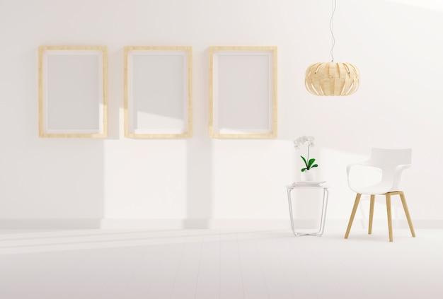 Leerer fotorahmen drei für modell im modernen wohnzimmer