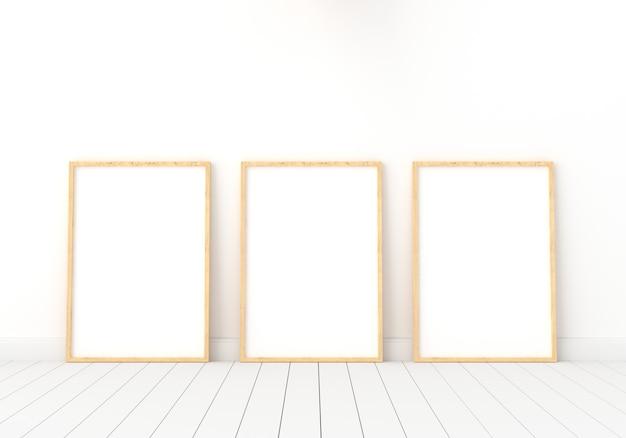 Leerer fotorahmen drei für modell im reinraum