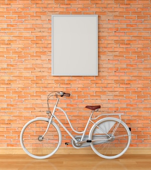 Leerer fotorahmen für modell auf wand und weißes fahrrad, wiedergabe 3d