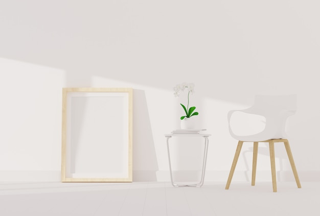 Leerer fotorahmen für modell im modernen wohnzimmer