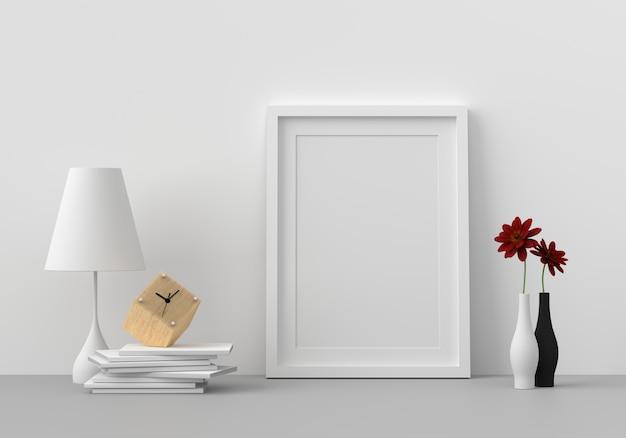 Leerer fotorahmen im modernen wohnzimmer, 3d übertragen, 3d