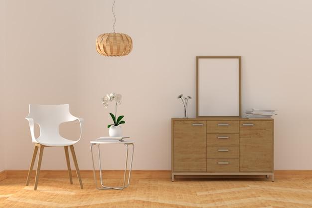 Leerer fotorahmen im modernen wohnzimmer