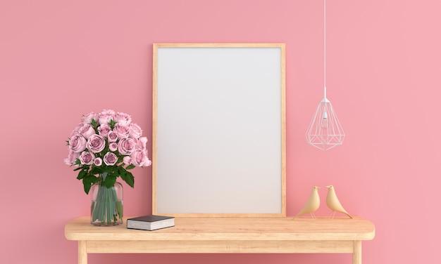 Leerer fotorahmen im rosafarbenen raum für modell