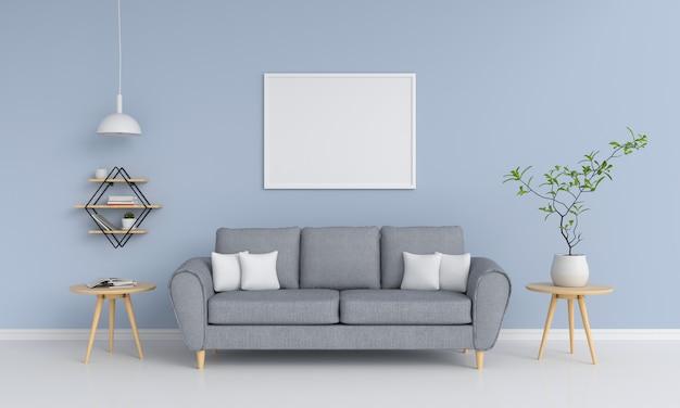 Leerer fotorahmen im wohnzimmer