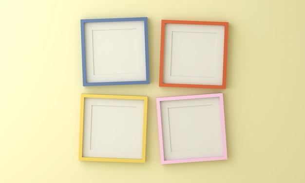 Leerer gelb-blau-rosa und orangefarbener bilderrahmen zum einfügen von text oder bild in eine hellgelbe farbwand.