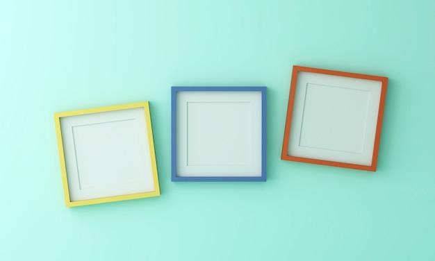 Leerer gelb-blauer und orangefarbener bilderrahmen zum einfügen von text oder bild in die grüne farbwand.