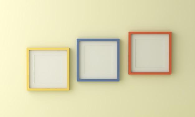 Leerer gelb-blauer und orangefarbener bilderrahmen zum einfügen von text oder bild in eine hellgelbe farbwand.
