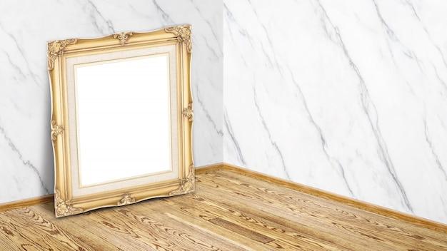 Leerer goldweinlese-bilderrahmen, der am weißen glatten marmor- und bretterbodeneckstudio-raumhintergrund sich lehnt