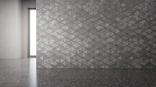 Leerer grauer boden und dunkle betonwand
