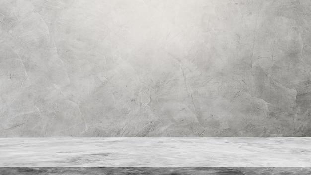 Leerer grauer wandrauminnenraum und zementregal
