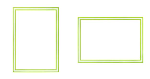 Leerer grüner rahmen horizontal und vertikal lokalisiert auf weißem hintergrund. datei enthält mit beschneidungspfad so einfach zu arbeiten.