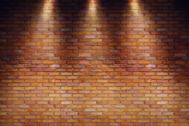 Leerer grungy raum mit wand des roten backsteins und drei scheinwerferstrahlen