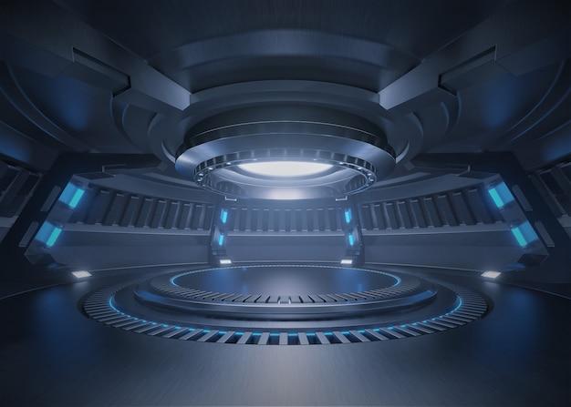 Leerer hellblauer studioraum futuristischer innenraum mit leerem stadium mit den lichtern blau