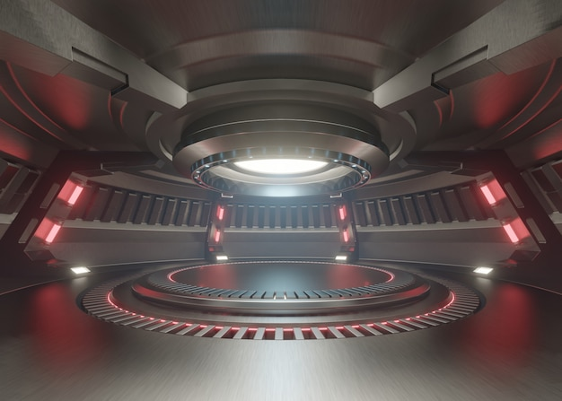 Leerer hellblauer studioraum futuristischer innenraum mit leerem stadium mit den roten lichtern.