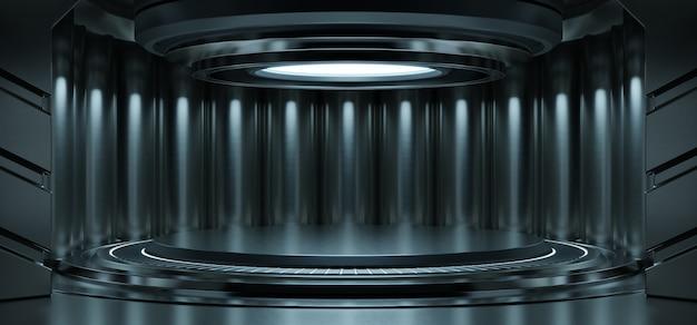 Leerer hellblauer studioraum futuristischer sci fi großer flurraum mit hellblauem hintergrund