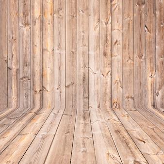 Leerer hölzerner regal-hintergrund gemasert für produkt-oder gegenstand-montage-anzeige