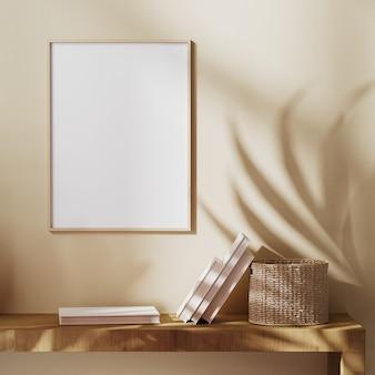 Leerer holzrahmen auf beige wand mit sonnenstrahl und palmblättern schatten, boho-stil, balinesischer stil, 3d-rendering 3