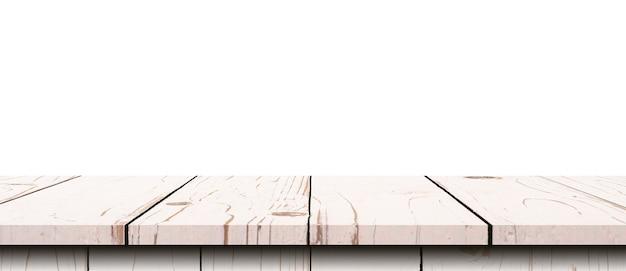 Leerer holztisch auf weißem hintergrund isolieren und montage mit kopienraum für produkt anzeigen.