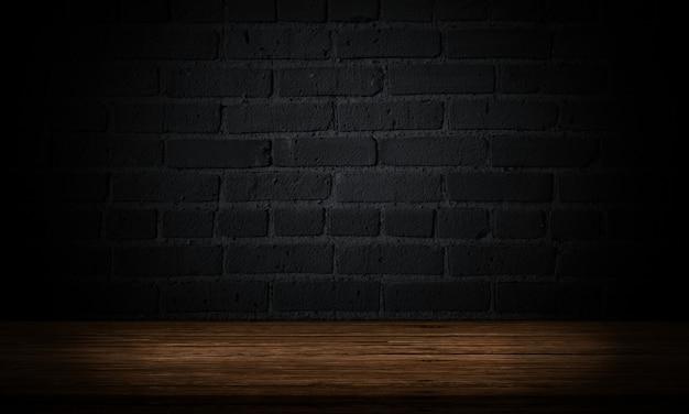Leerer holztisch mit dunkler ziegelsteinwand produkthintergrundanzeige