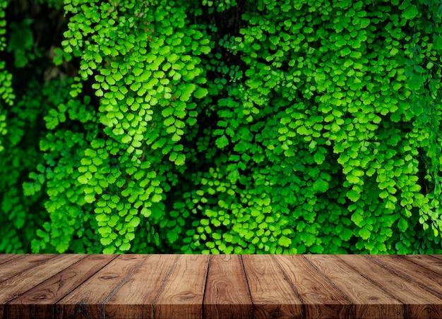 Leerer holztisch und tropischer pflanzenhintergrund