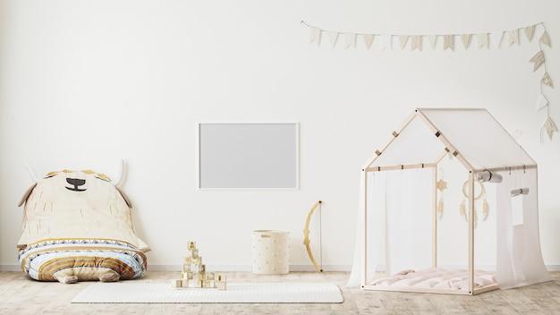Leerer horizontaler rahmen im kinderspielzimmer-interieur im landhausstil 3d-rendering