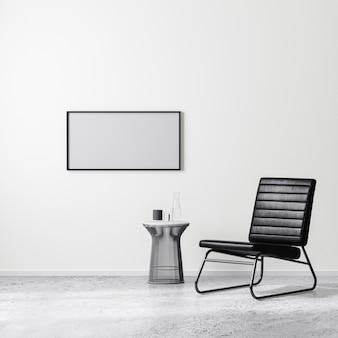 Leerer horizontaler rahmen in zeitgenössischer innenarchitektur mit schwarzem sessel mit couchtisch, weißer wand und betonboden, 3d-rendering