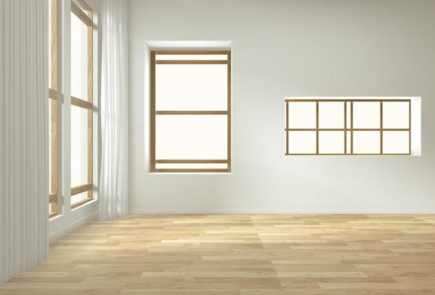 Leerer innenhintergrund, raum mit dekorationsspott oben auf bretterboden