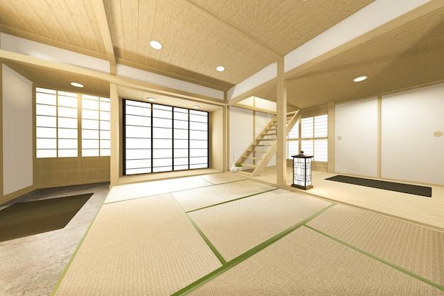 Leerer japanischer tropischer stil des großen raumes. 3d-rendering