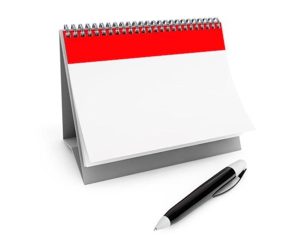 Leerer kalender und marker auf weißem hintergrund