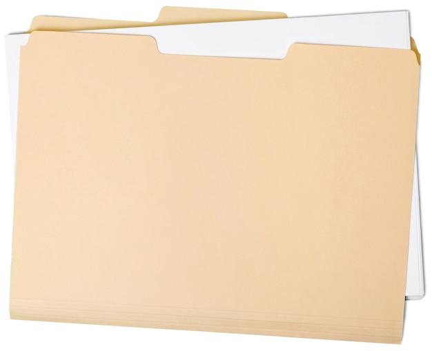 Leerer kartonordner isoliert auf weißem hintergrund