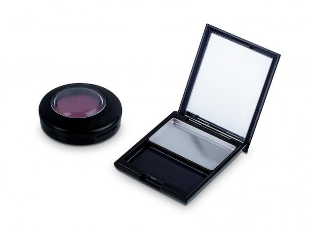 Leerer kasten kosmetischer palettengebrauch für den gebrauch des neuen produktes der nachfüllung lokalisiert auf weiß