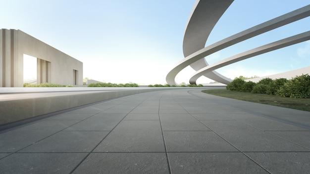 Leerer konkreter boden im stadtpark. wiedergabe 3d des raumes im freien und der zukünftigen architektur mit blauem himmel
