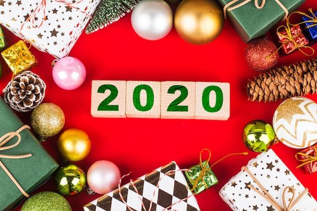 Leerer kopienraum für aufschrift. idee des guten rutsch ins neue jahr-feiertags 2020.