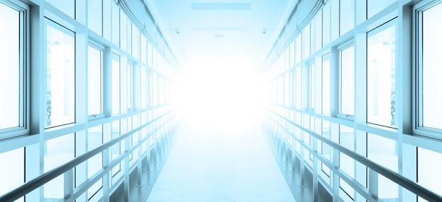 Leerer langer korridor im modernen bürogebäude. hintergrund