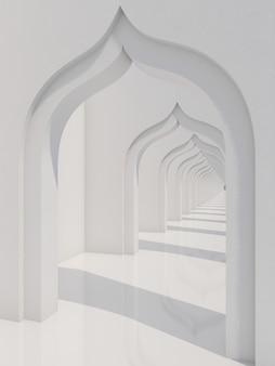 Leerer langer korridor mit sonnenlicht und schatten weißer tunnel