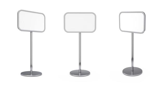 Leerer leerer außen- oder innenwerbungsstand-bürgersteig-brett auf einem weißen hintergrund. 3d-rendering