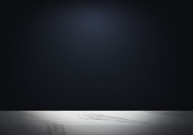 Leerer marmortisch mit dunkelblauer hintergrundbeleuchtung der produktkulisse