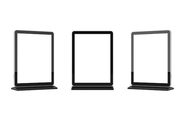 Leerer messe-lcd-bildschirmständer als vorlage für ihr design auf weißem hintergrund. 3d-rendering