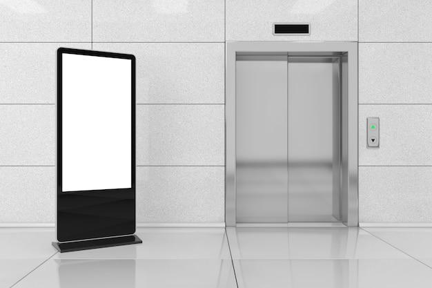Leerer messe-lcd-bildschirmständer als vorlage für ihr design in der nähe eines modernen aufzugs oder aufzugs mit metalltüren im bürogebäude extreme nahaufnahme. 3d-rendering