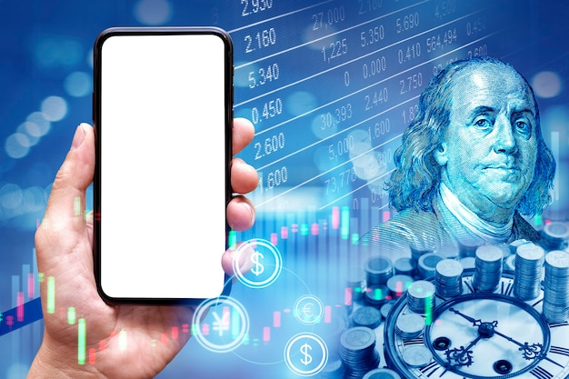 Leerer mobiler bildschirm auf börsenhintergrund