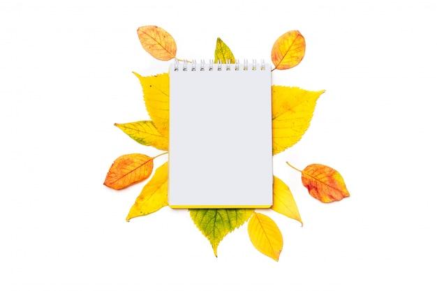 Leerer notizblock für das schreiben auf einen herbst von den farbigen blättern lokalisiert auf weiß.