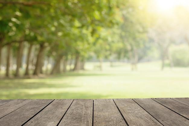 Leerer park des holztischs / des bodens öffentlich mit grünen bäumen